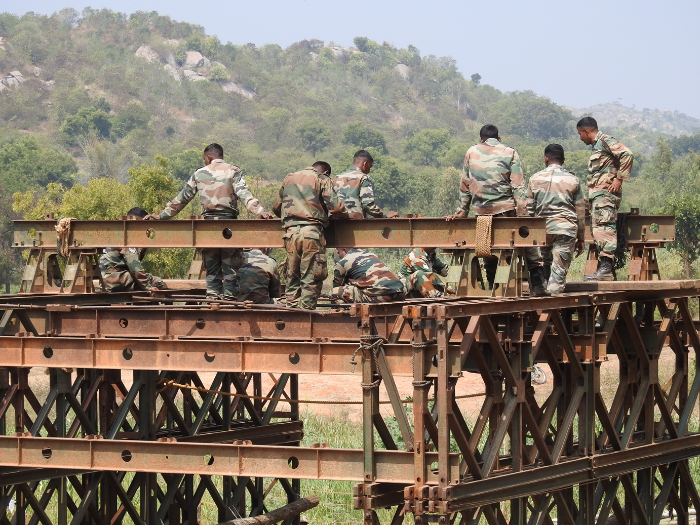 Image result for indian army working for bridge