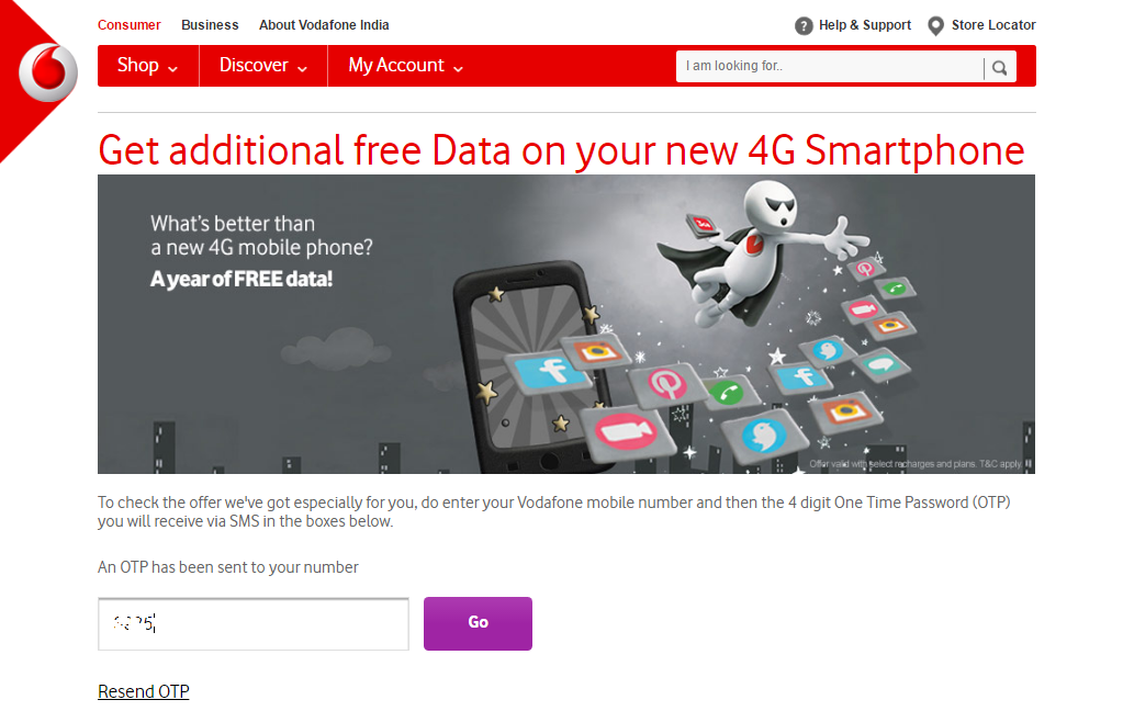 Vodafone now offering 27GB free 4G data for 3 months