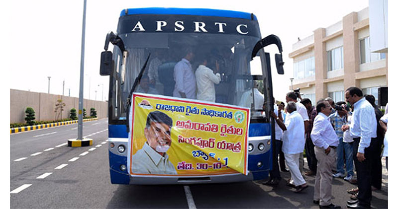 First batch of 35 Amaravathi farmers leave for Singapore