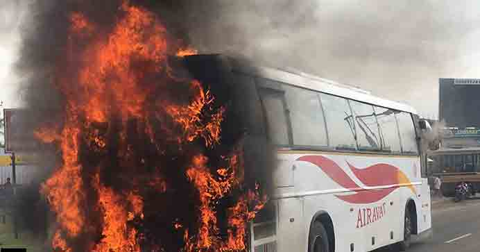 Bus catches fire, no casualties