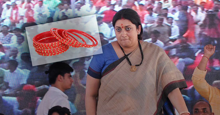Man throws bangles at Smriti Irani during public address in Gujarat