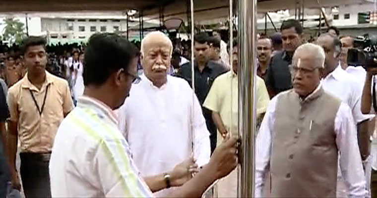 Ignoring Kerala govt order, RSS chief Mohan Bhagwat hoists tricolour in school