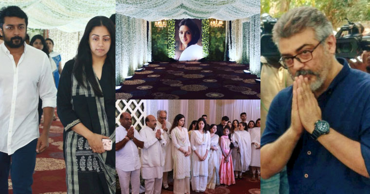 Boney Kapoor, Janhvi and Khushi hold Sridevi's prayer meet in Chennai