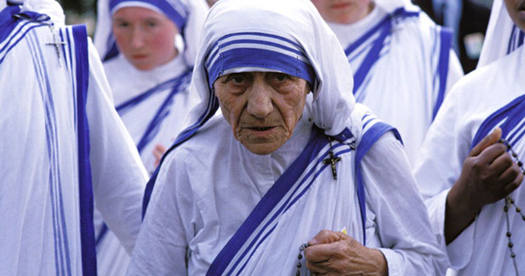 Mother Teresa's white and blue sari is now trademarked under Missionaries of Charity